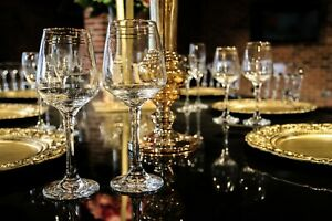12 x GOLD RIMMED WINE GLASSES DINNER TABLE DECOR WEDDINGS, HOME TABLEWARE