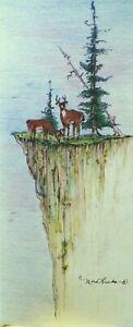 Art Card Wildlife Elk Nature Deer Antler Picture Mountain Ridge