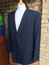"""Cecil Gee vintage navy blue self stripe double breasted blazer jacket 40"""" chest"""