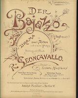 alte Noten Klavierauszug der Bajazzo Drama R. Leoncavallo Fürstner 1925 gebunden