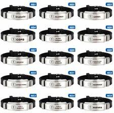 Medical Alert Bracelet Silicone Wristband Diabetes Epilepsy Stainless Steel