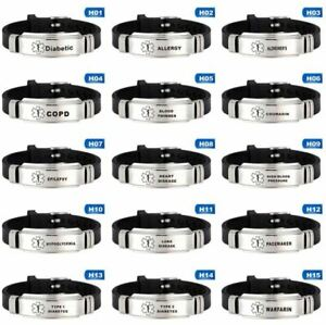 Medical Alert Bracelet Silicone Wristband Diabetes Epilepsy Stainless Steel