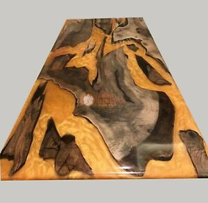 Mappa Burl Acacia Wood Epoxy Clear Resin River End Dining Personalize Furniture