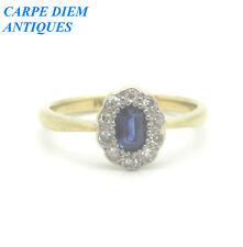 SPECIAL 35PT SAPPHIRE & DIAMOND SOLID 18cT & PLATINUM RING UK M 1/2 & U.S 6 1/4