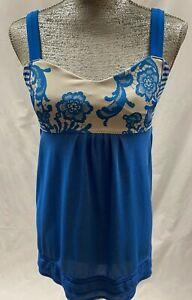 LULULEMON Royal Blue Solid & Floral Sleeveless Workout Active Top Size 10