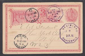 Guatemala H&G 4 used 1901 Postal Card, ANTIGUA, GUATEMALA to NEW YORK, VF
