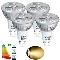 4X 4W GU10 LED LIGHT BULBS LAMP DOWN LIGHTS SPOTLIGHT WARM WHITE MAINS 110V-240V