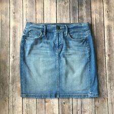 Ann Taylor Loft Skirt 00 24 XXS Denim Jean Cotton Stretch Pencil Straight Blue
