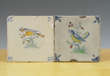 Antique 2 x Dutch Delft Tile Bird 17th & 19th C.