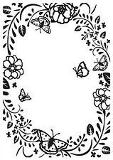 Nellie's Choice Embossing Folder HSF016 - Flower/Butterfly Rectangle frame