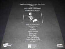 BUCK OWENS Greatest Hits 1st time on CD original 1990 PROMO POSTER AD mint cond