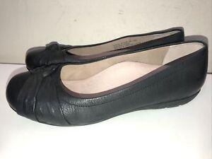 """Women's Abeo Black Leather Slip-on 'Terrie"""" Twist Ballet Flat Size 6 N"""
