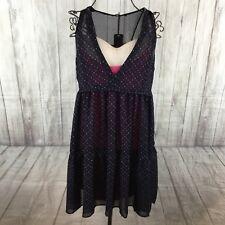 KOOKAI Women's Sheer Overlay Baby Doll Sleeveless Dress Size 36 8 10 Blue Pink