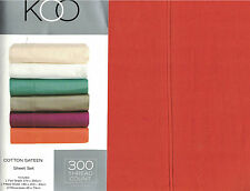 KOO ORANGE 300 THREAD COUNT COTTON SATEEN SHEET SET KING NEW