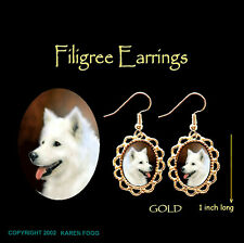 Samoyed Dog - Gold Filigree Earrings Jewelry