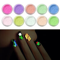 10PCS Glow in The Dark Nail Super Bright Nail Polish Fluorescent Luminous Powder