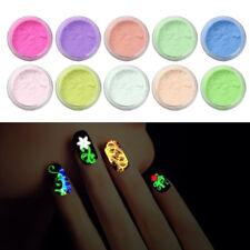 10PCS Glow in The Dark Nail Super Bright Nail Polish Fluorescent Luminous Powder