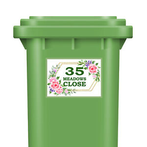 Personalised Wheelie Bin Stickers House Number With Street Dustbin Green Floral