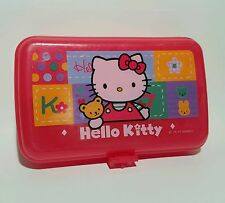 Hello Kitty 1997 Vintage School Pencil Supply Case Sanrio Plastic Box Art Kit