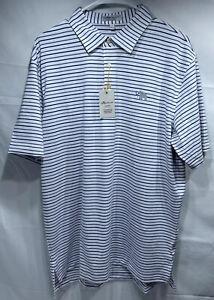 PETER MILLAR Men's Summer Comfort White Polo Blue Stripes ME0CEK09S Size:L