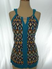 Shirt/Blouse/Top Women's APT.9 Ritia Blue and Gold Hardware Keyhole X Small NWT