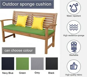 WATERPROOF Garden Bench Patio Pad OUTDOOR SEAT PADS Chair Cushion Swing 2 Seater