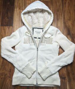 Abercrombie & Fitch Sherpa Lined Hoodie Jacket Sweatshirt White Women Medium Fur