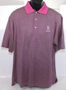 Fairway & Greene TPC Heron Bay Golf Club Pink Blue Striped Mens Polo Shirt Large