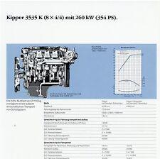 Prospetto DATI TECNICI SCHEDA TECNICA CAMION MERCEDES 3535 K 8x4/4 Kipper data sheet