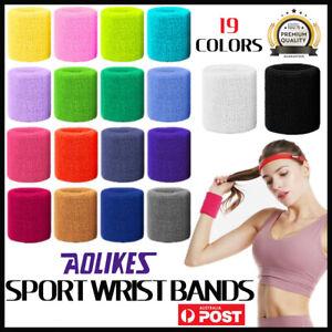 Sport Cotton Wristband Wrist Band Sweatband Sweat Training Tennis Gym Yoga AU