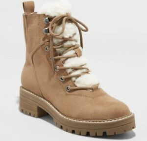 Women's Tessie Microsuede Sherpa Lace-Up Fashion Boots Universal Thread Tan