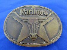 Vntage 1987 Marlboro Cgarette Solid Brass Longhorn Belt Buckle Advertising