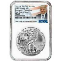 2020 (S) NGC MS 70 Silver Eagle FDOI Emergency Production Trump 45th President