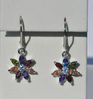 Echt 925 Sterling Silber Ohrringe Blume Blüte blau rot grün  Zirkonia  Nr 210
