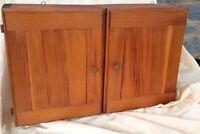 "Vintage Wall Spice Jar Cabinet Wood Handmade Primitive   19.5"" Length"