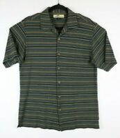 Tommy Bahama Mens Small Striped Short Sleeve Button Up Shirt Silk Blend Flaw