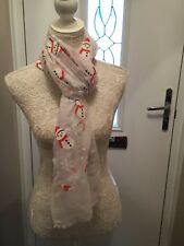 White Large Snowman Christmas Scarf With Glitter On Scarves Shawl present gift