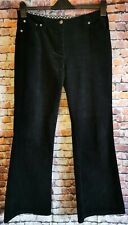 Laura Ashley Black Corduroy Boot Cut / Flared Jeans / Trousers Size 12 (D2)