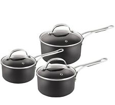 Tefal Jamie Oliver Hard Anodised Induction Set of 3 Saucepans with Lids
