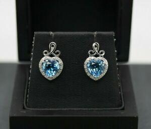 9ct White Gold Blue Topaz & Diamond Cluster Earrings
