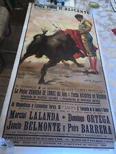 VINTAGE BULLFIGHT POSTER ORIGINAL PLAZA TOROS DE ALICANTE 1942