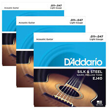 D'Addario EJ40 Acoustic Guitar Strings, Silk/Steel, Silver Plated X3 SETS