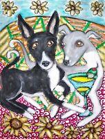 Italian Greyhound Collectible ACEO PRINT Dog Art Card 2.5 X 3.5 KSAMS Martinis