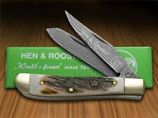 HEN & ROOSTER AND Genuine Deer Stag Damascus 1/300 Mini Trapper Pocket Knives