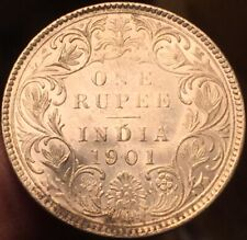 British India 1901 Bombay Mint Rupee High Grade/Light Cleaning - Please See Pics