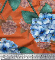 Soimoi Fabric Leaves & Hydrangea Floral Fabric Prints By Yard - FL-1060D