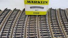 Märklin 5100 M . Rails,10 éléments de voie courbe en boite d'origine. Voie HO.