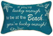 "DECORATIVE PILLOWS - ""LUCKY ENOUGH TO BE AT THE BEACH"" PILLOW"