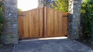 Hardwood timber  gates 70mm iroko swan neck pair. 10ft wide