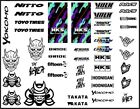 "rc drift car stickers Clear VinylBrands Logos 8.5""x11"" Sheets Drifting Hks"
